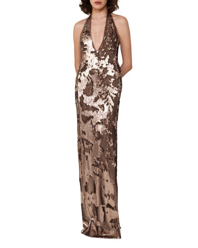 Sequined Jersey Halter Gown  Gold