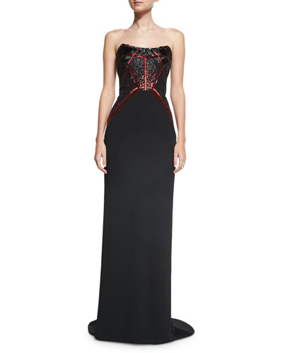 Sequined Strapless Crepe Column Gown, Black/Red