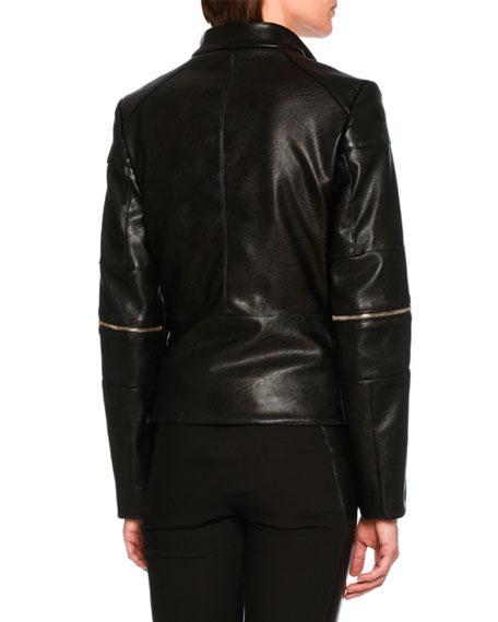 Victoire Faux-Leather Moto Jacket, Black