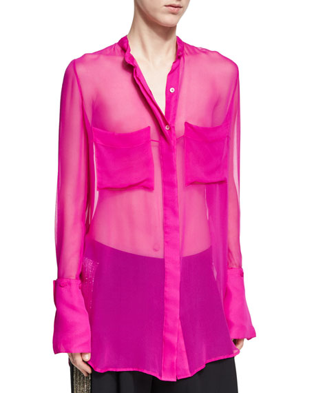 Oversized Sheer Silk Blouse, Fuchsia