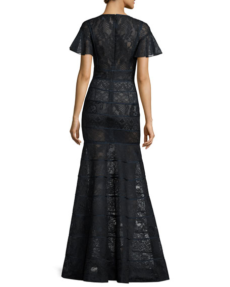 Flutter-Sleeve Paneled Lace Gown, Blue