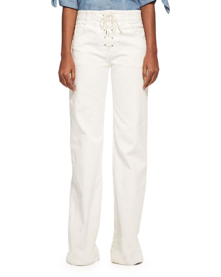 Lace-Up Wide-Leg Denim Jeans, White