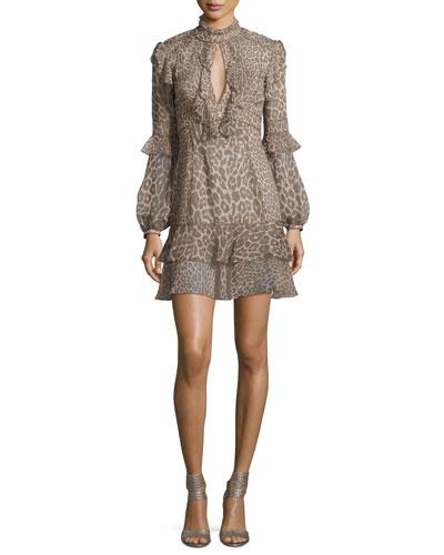 Long-Sleeve Leopard-Print Keyhole Dress, Gray