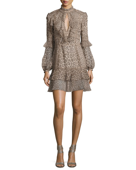Long-Sleeve Leopard-Print Keyhole Dress, Gray