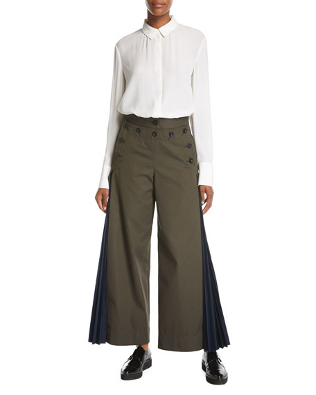 Wide-Leg Side-Pleat Pants, Khaki
