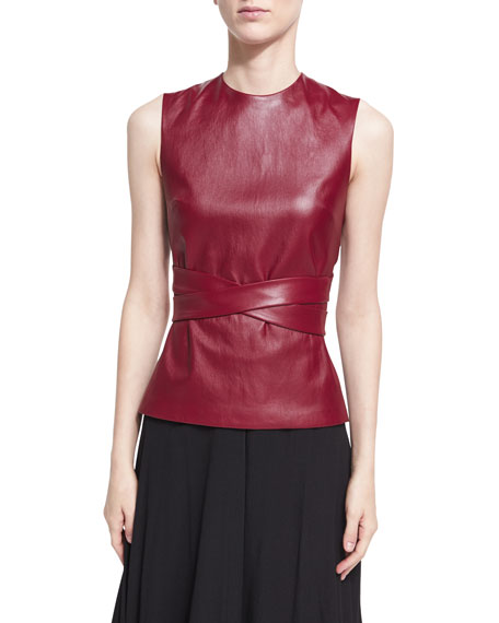 Leather Apron-Front Vest, Dark Red