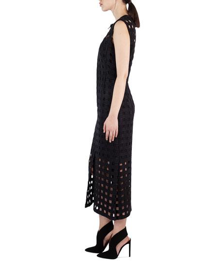 Netted-Overlay Sleeveless Dress