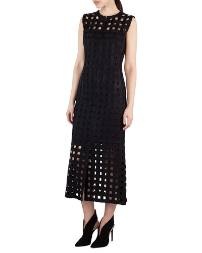 Netted-Overlay Sleeveless Dress