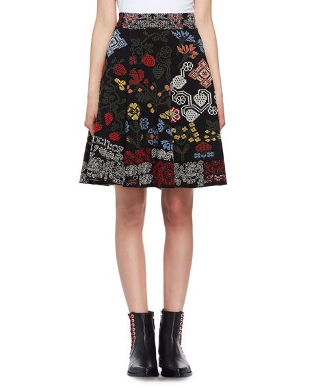 Floral Needlepoint Pleated Skirt