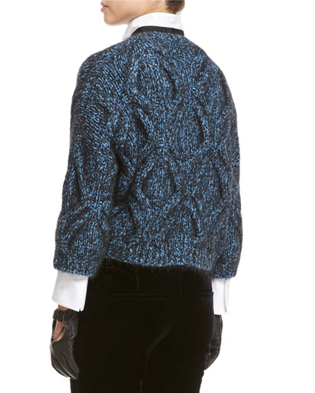 Cable-Knit Zip-Front Cardigan