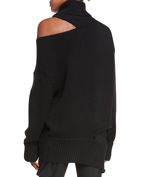 Cutout Knit Turtleneck Sweater
