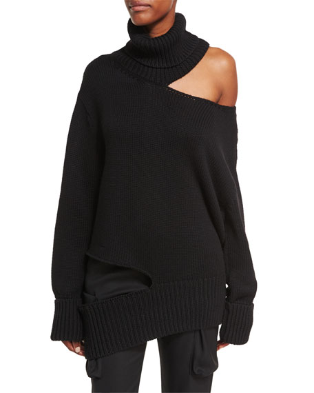 Cutout Knit Turtleneck Sweater