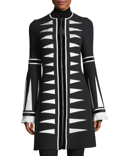Zip-Front Triangle Jacquard Coat