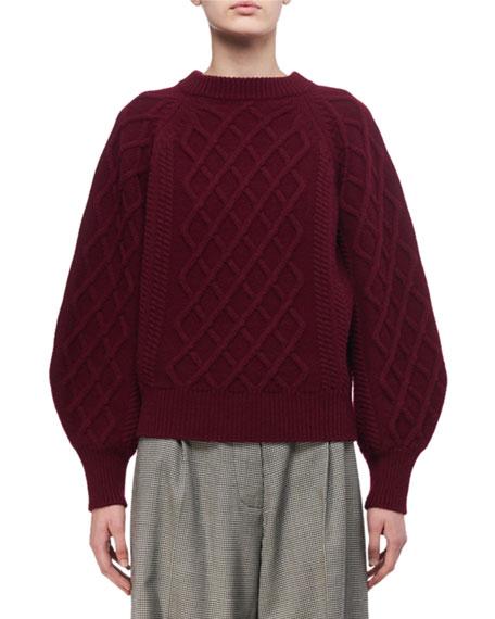 Aran Cable-Knit Crewneck Sweater
