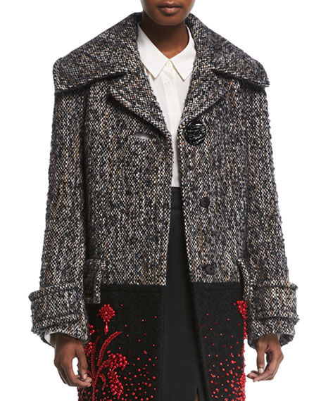 Beaded Fur-Trim Colorblock Tweed Coat