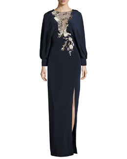 Long-Sleeve Embroidered Blouson Gown