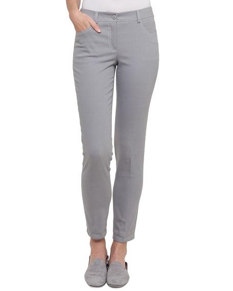 Mid-Rise Skinny-Leg Cotton-Stretch Pants