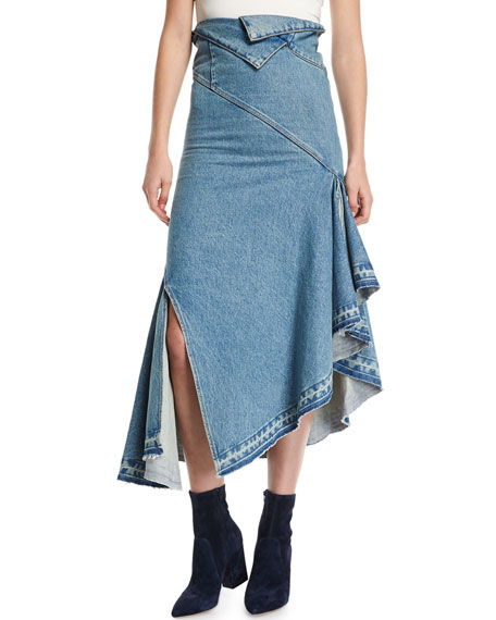 Asymmetric Ruffled Denim Midi Skirt