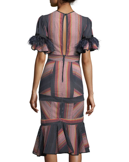 Ghost Ranch Striped Eyelet Midi Dress