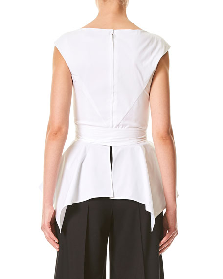 Cap-Sleeve Peplum Top with Belt
