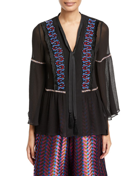 Split-Neck Georgette Peasant Blouse w/ Beaded Trim