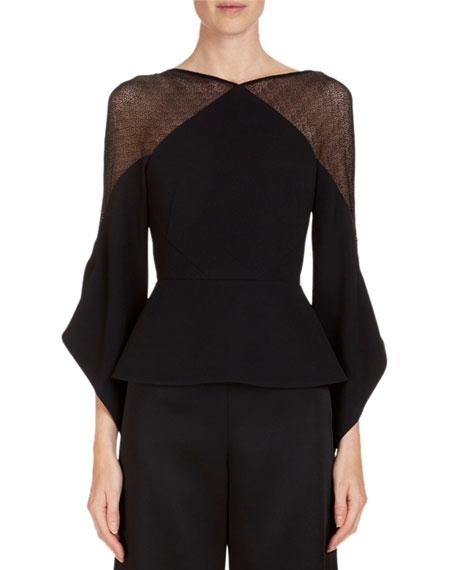 Harthill Flutter-Sleeve Lace-Shoulder Top