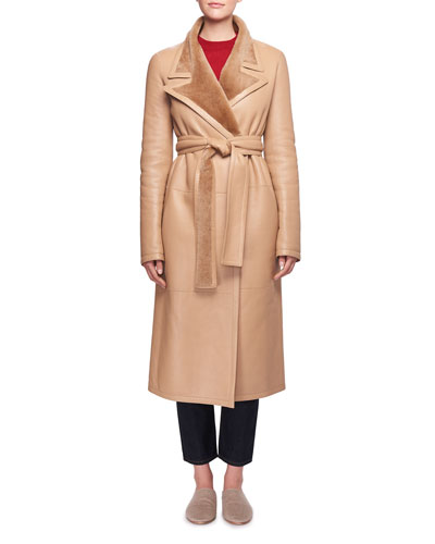 Cintry Belted Long Leather Coat with Shearling