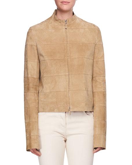 Sonra Paneled Zip-Front Suede Jacket