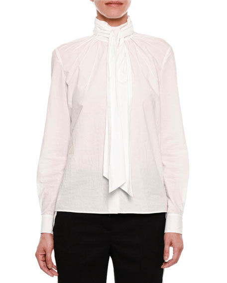 Cotton Blouse w/Neck Tie