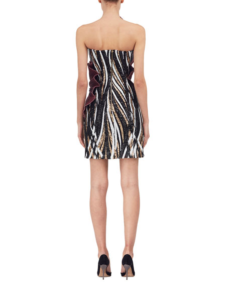 Strapless Sequined Cocktail Dress w/Lamé Sash