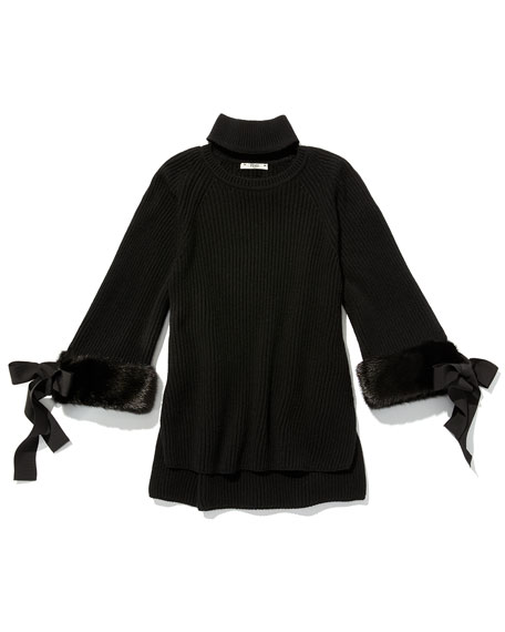 Mock-Collar Fur-Cuff Cashmere Top