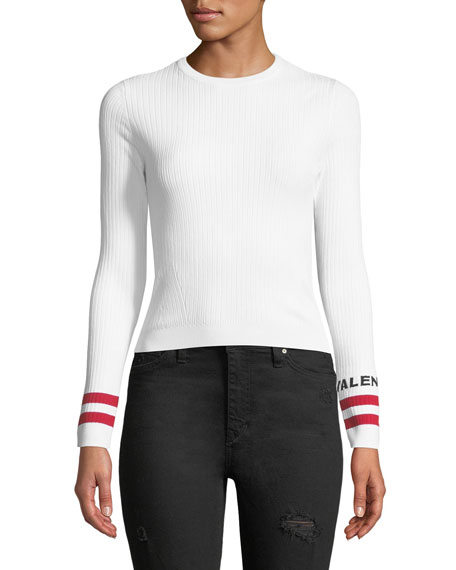 Crewneck Long-Sleeve Rib-Knit Pullover Top with Logo Cuffs
