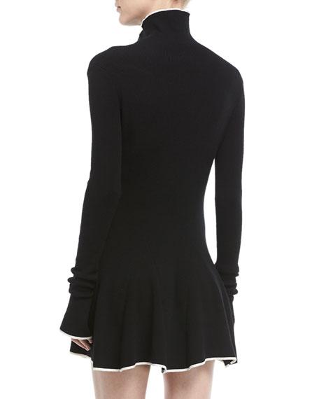Tipped Mock-Neck Knit Dress