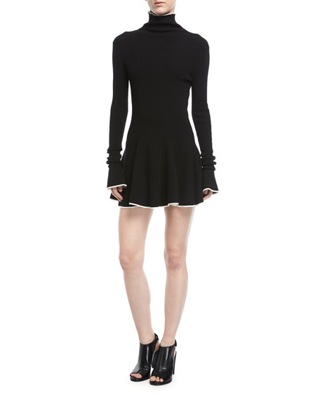 Tipped Mock-Neck Knit Dress