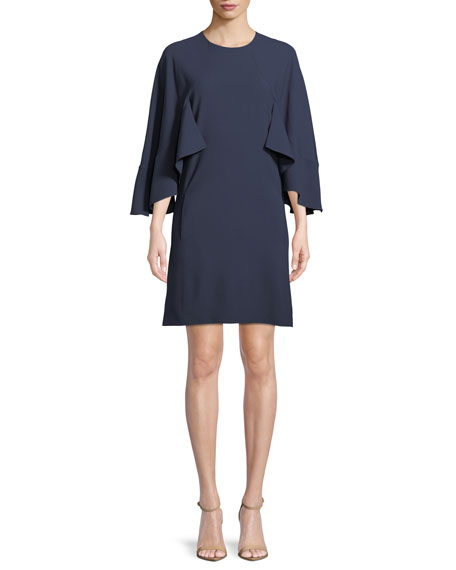 3/4-Sleeve Ruffled Crepe Dress