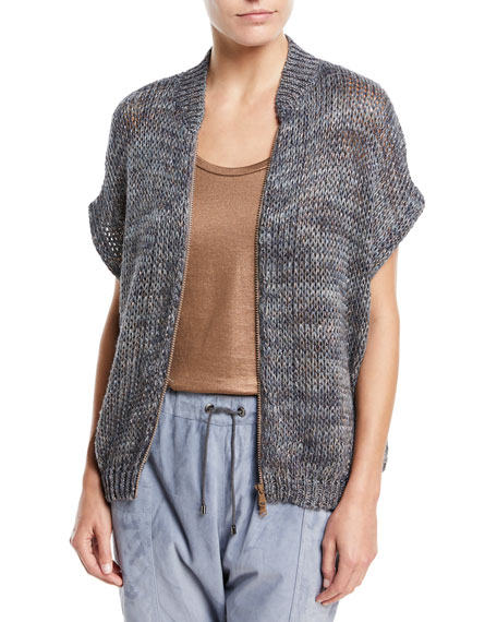 3/4-Sleeve Zip-Front Linen-Hemp Cardigan