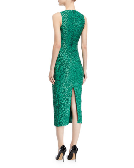 Sleeveless Boat-Neck Leopard-Jacquard Sheath Cocktail Dress