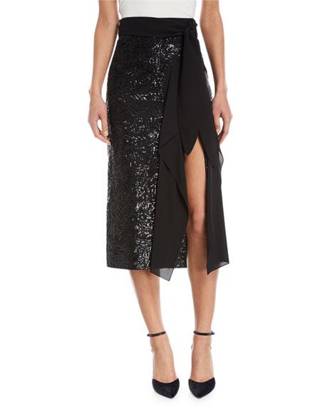 Sequin-Embellished Side-Ruffle Midi Skirt