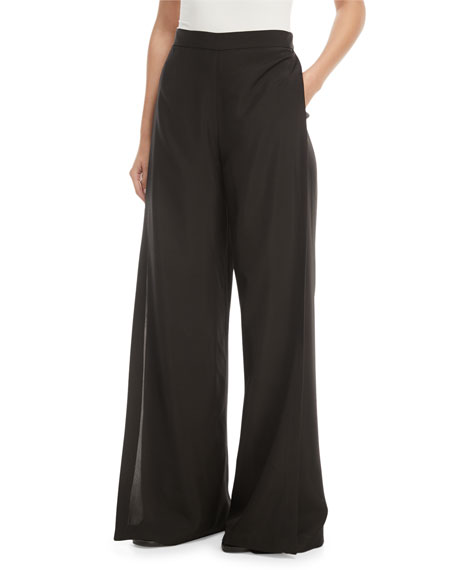 Wide-Leg Wrap Fluid Shantung Pants