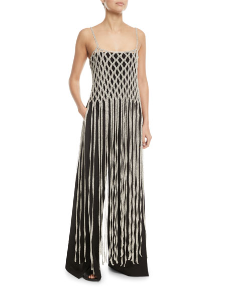 Braided Metallic Fringe Long Camisole