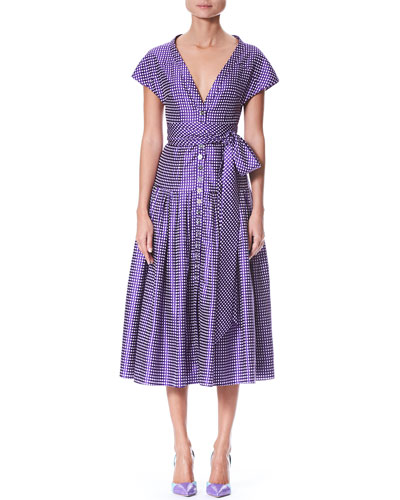 Short-Sleeve V-Neck Button-Front Dotted Belted Cocktail Dress