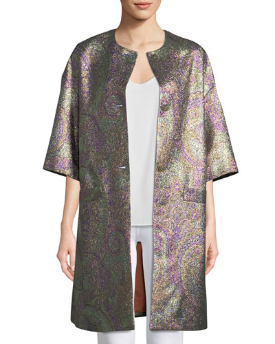 Metallic Paisley Jacquard Topper Jacket