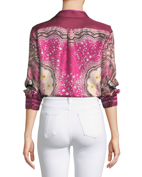 Long-Sleeve Silk Paisley Blouse