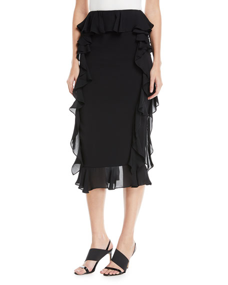 Romina Pencil Skirt with Georgette Ruffle Sides