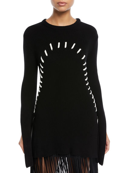 Threaded Crewneck Slit-Sleeve Sweater