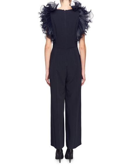 Tess Organza Ruffle-Sleeve Jumpsuit
