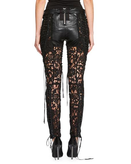 Leather & Lace-Paneled Pants