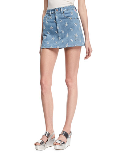 Floral-Embroidered Denim Miniskirt, Indigo