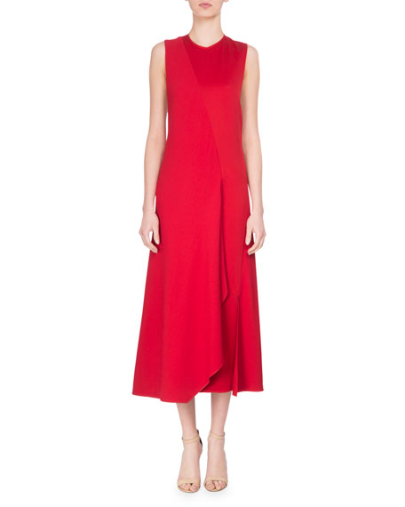 Bias-Cut Two-Tone Sleeveless Midi Dress