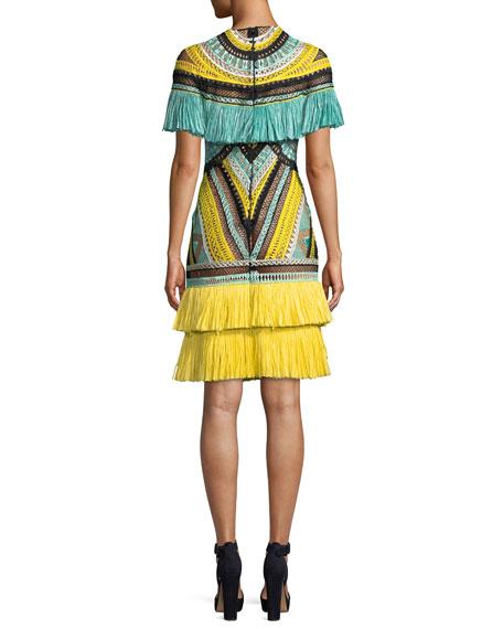Short-Sleeve Crocheted Cocktail Dress